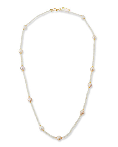 Chalcedony & Pearl Strand Necklace, 36