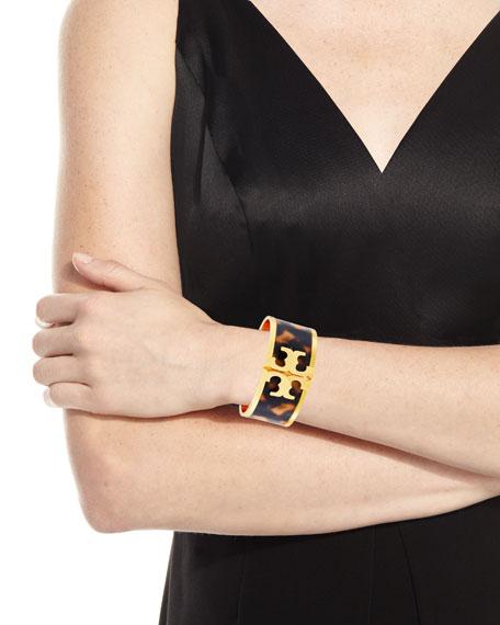 Wide Raised Logo Enamel Cuff Bracelet, Tortoise