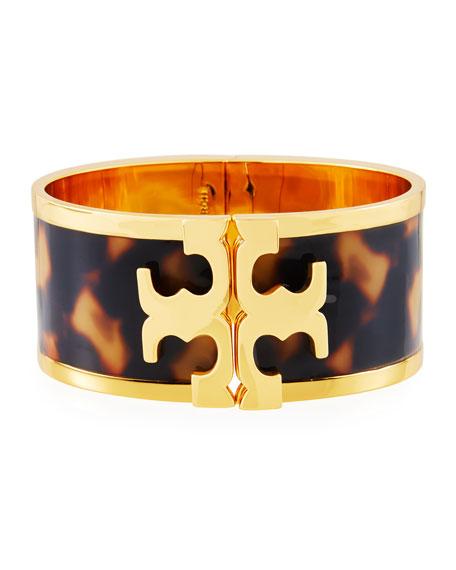 Tory Burch Wide Raised Logo Enamel Cuff Bracelet, Tortoise | Neiman Marcus