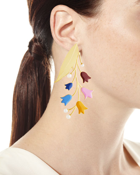 Bell Flower Statement Earrings with Pearls
