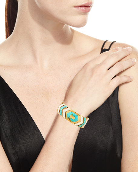 Turquoise & Bone Chevron Link Bracelet