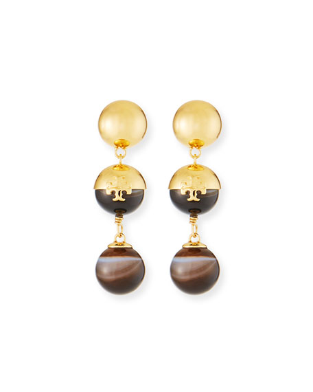 Logo Linear Bead Drop Earrings with Agate