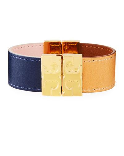 Colorblock Reversible Leather Bracelet