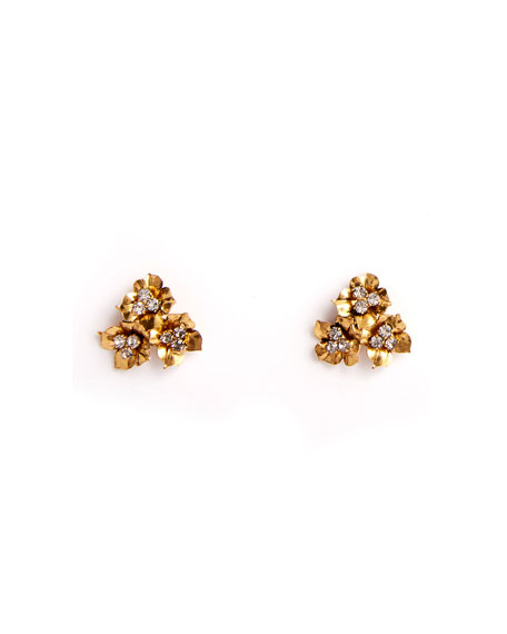 Jennifer Behr Maye Floriform Crystal Stud Earrings