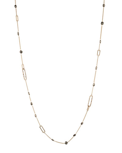 Crystal Encrusted Link Necklace w/ Pyrite