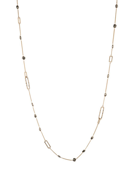 Alexis Bittar Crystal Encrusted Link Necklace w/ Pyrite