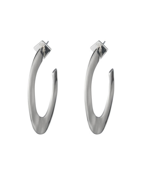 Liquid Metal Orbit Hoop Earrings, Gray