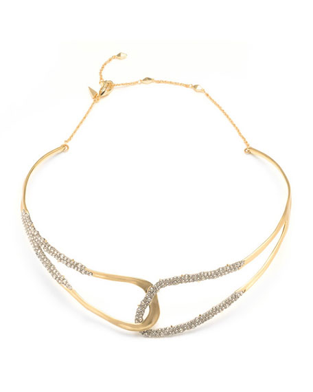 Alexis Bittar Crystal Encrusted Freeform Collar Necklace