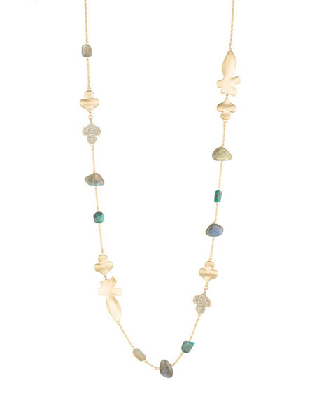Alexis Bittar Crystal Encrusted Abstract Station Necklace