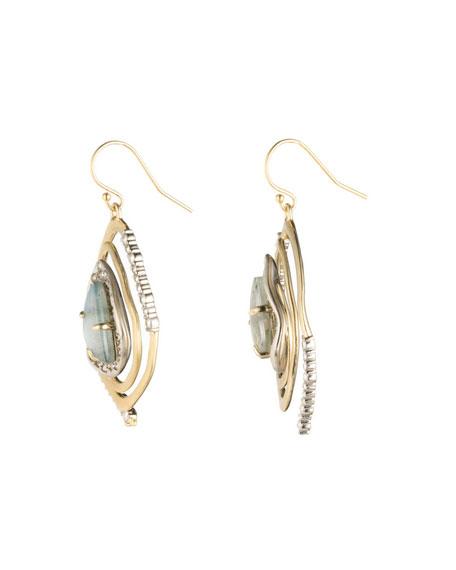 Crystal Encrusted Spiral Drop Earrings