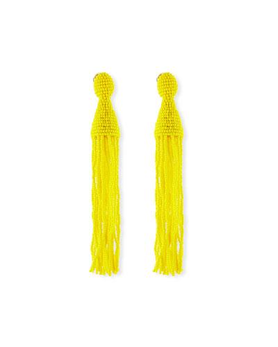 Long Seed-Bead Tassel Clip-On Earrings