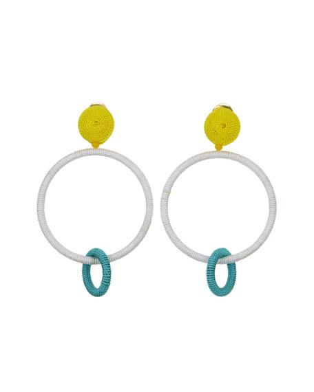 Silk Double Hoop Clip-On Earrings