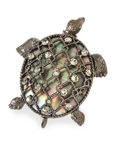 Turtle Brooch w/ Crystals