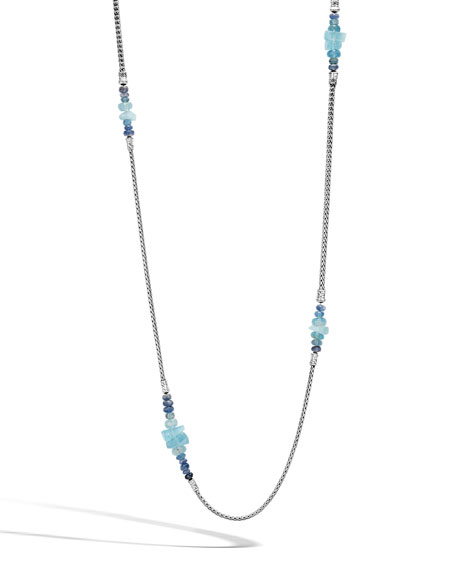 John Hardy Classic Chain Silver Long Mixed-Stone Necklace,