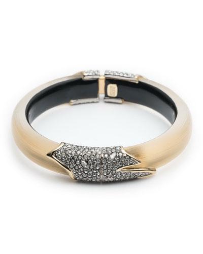 Crystal Encrusted Feather Hinge Bracelet, Golden