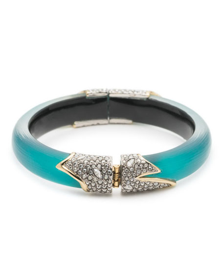 Crystal Encrusted Feather Hinge Bracelet, Lake Blue