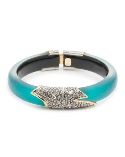 Crystal Encrusted Feather Hinge Bracelet, Lake Blue