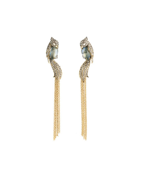 Lovebirds Crystal Encrusted Tassel Clip Earrings
