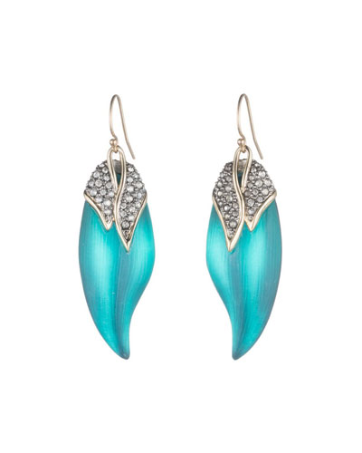 Crystal Encrusted Capped Feather Earrings, Lake Blue