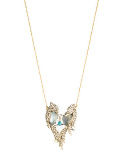 Lovebirds Crystal Encrusted Pendant Necklace