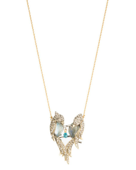 Alexis Bittar Lovebirds Crystal Encrusted Pendant Necklace