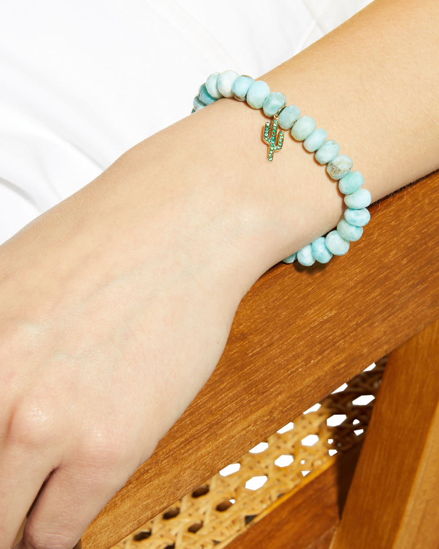 Sydney Evan Larimar Bead & 14k Cactus Charm Bracelet NDTffsdVDb