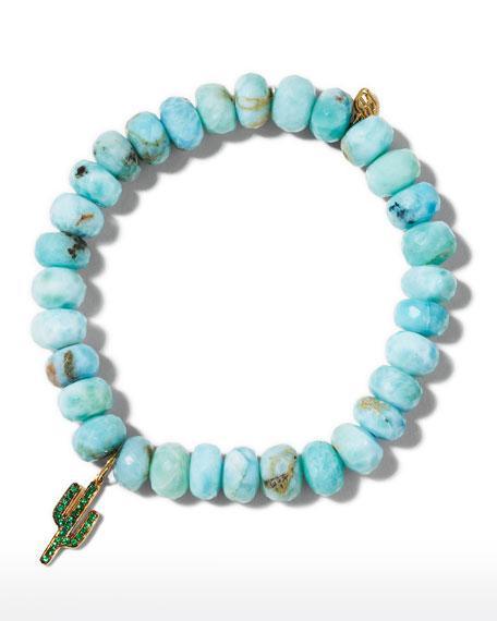 Larimar Bead & 14k Cactus Charm Bracelet