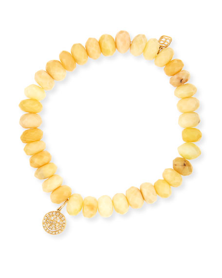Yellow Opal Bead & 14k Happy Face Charm Bracelet