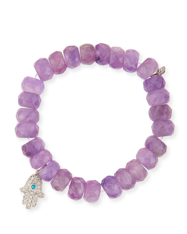 Cape Amethyst Bead 14k Hamsa Charm Bracelet