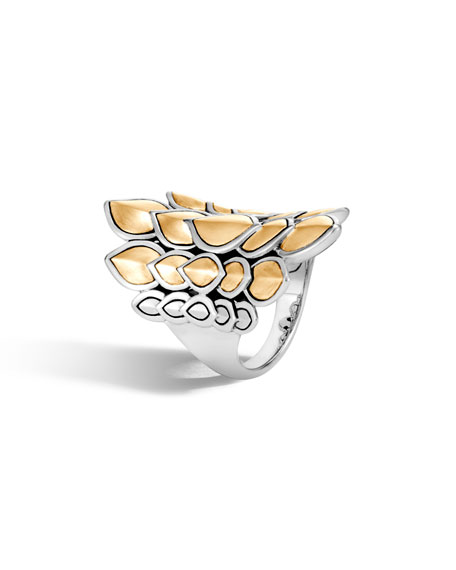Legends Naga Large Gold & Silver Saddle Ring in Silver/ Gold