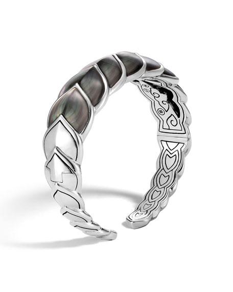 Sterling Silver Legends Naga Mother-Of-Pearl Medium Flex Cuff, Gray