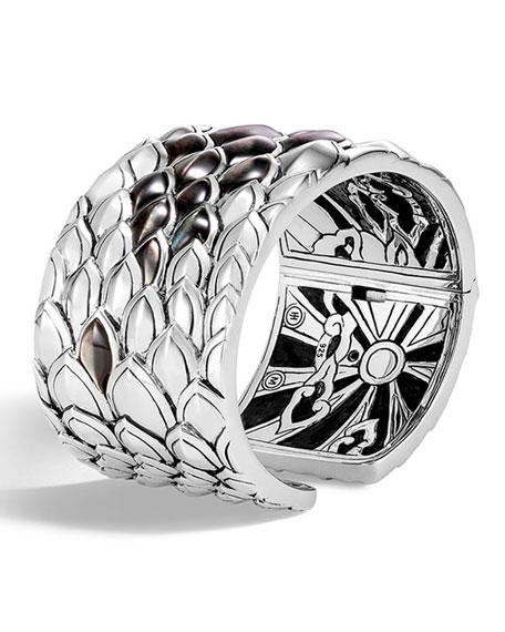 Legends Naga Silver Mother-Of-Pearl Kick Cuff Bracelet, Gray