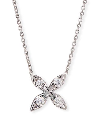 18k White Gold X Diamond Pendant Necklace