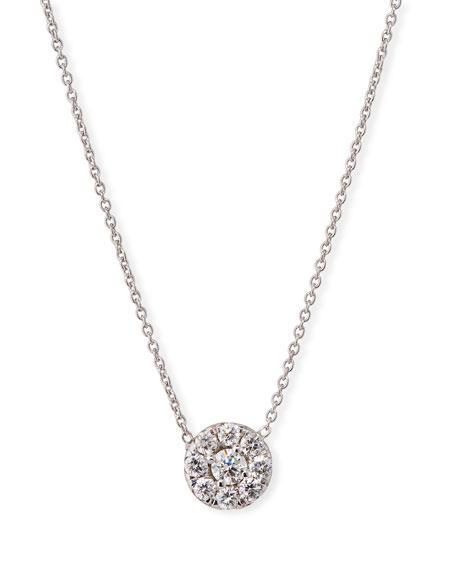 18k White Gold Diamond Halo Pendant Necklace