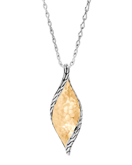 Classic Chain Wave Silver Hammered Pendant Necklace w/ 18k Gold