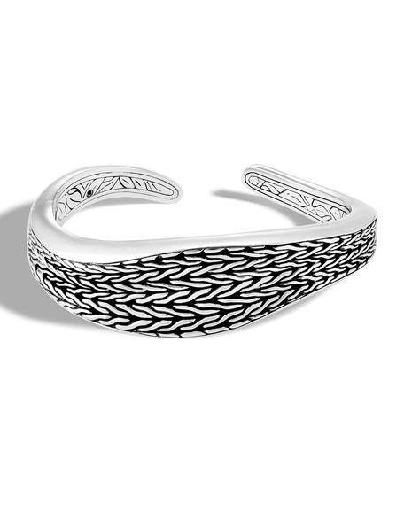 Classic Chain Wave Silver Kick Cuff Bracelet, Size M