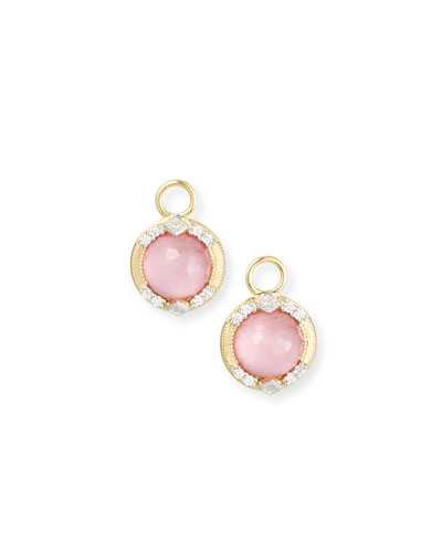 18k Lisse Round Kite Earring Charms, Pink Triplet