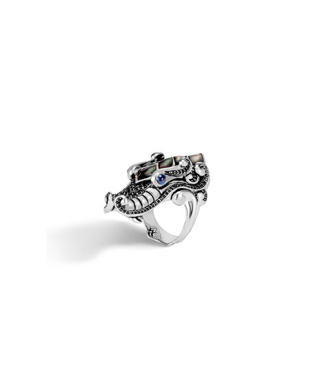 JOHN HARDY LEGENDS NAGA SILVER MOTHER-OF-PEARL RING, SIZE 7