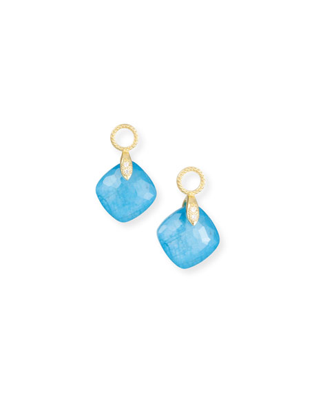 18k Lisse Small Cushion Earring Charms, Blue Triplet