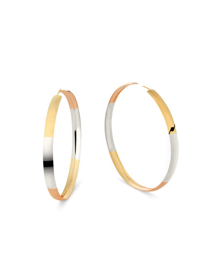 Lana Jewelry 14k Tricolor Bubble Hoop Earrings, 80mm