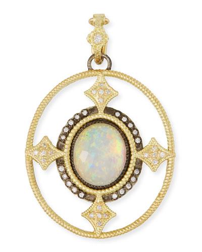 Old World Opal Triplet Enhancer Pendant w/ 18k Gold