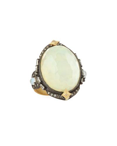 Old World Oval Opal Triplet Ring w/ Diamonds