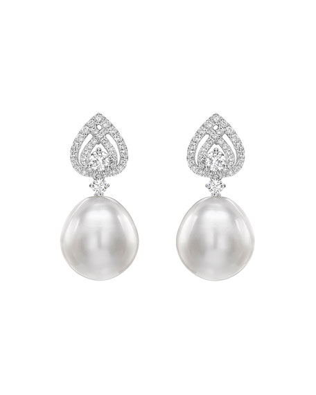 Kiki McDonough 18k White Gold Pearl Drop Earrings