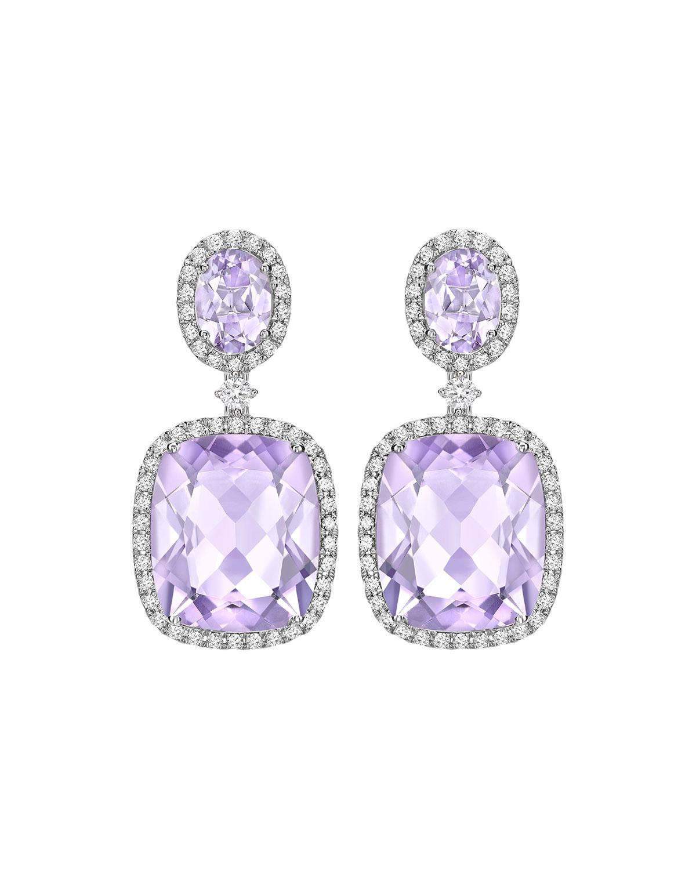 Signature Lavender Amethyst Diamond Drop Earrings