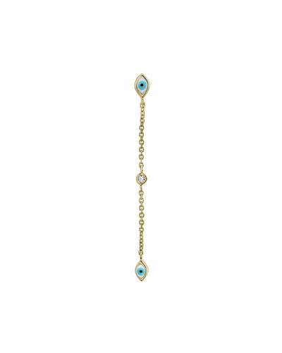 14k Gold Linear Enamel Evil Eye Drop Earrings