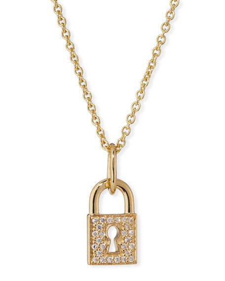 14k Diamond Keyhole Lock Charm Necklace