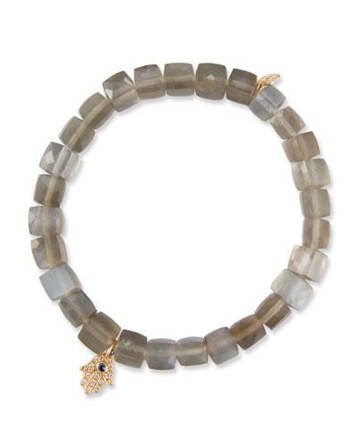 14k Moonstone Cube Bracelet w/ Hamsa