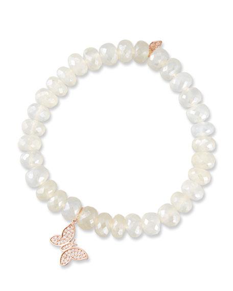 14k Chalcedony Rondelle Bracelet w/ Butterfly