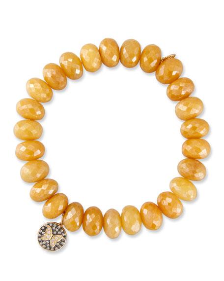 Yellow Silverite Rondelle Bead Bracelet w/ 14k Butterfly Charm