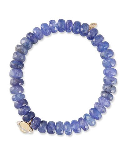 Tanzanite Rondelle Bead Bracelet w/ 14k Saturn Charm